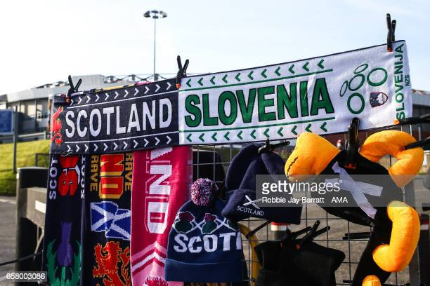 Scotland and Slovenia merchandise for sale prior to the FIFA 2018 World Cup Qualifier between Scotland and Slovenia at Hampden Park on March 26 2017...