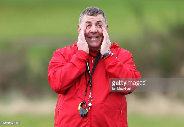 Scotland assistant manager Mark McGhee is seen during a training session at Mar Hall on March 23 2017 in Erskine Scotland