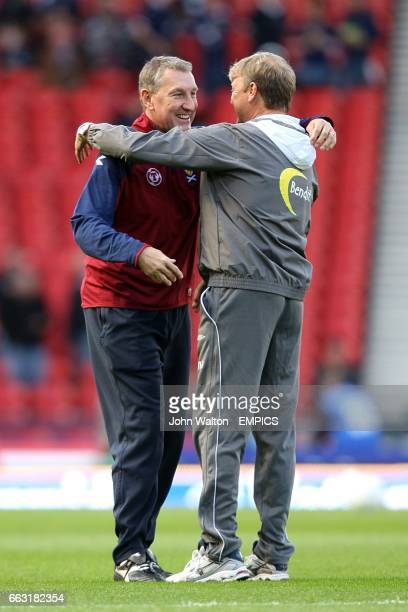 Scotland assistant manager Terry Butcher greets Norway manager Age Hareide before kick off
