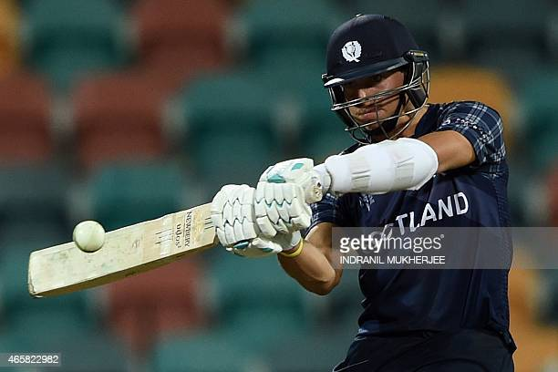 Scotland batsman Frederick Coleman plays a shot during the 2015 Cricket World Cup Pool A match between Scotland and Sri Lanka at the Bellerive Oval...