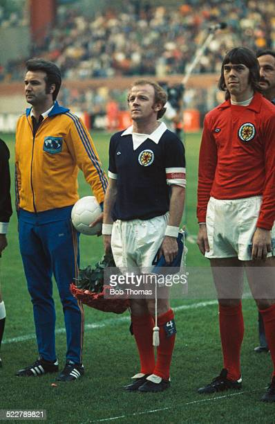 Scotland captain Billy Bremner and Scotland goalkeeper David Harvey before their World Cup Group 2 match against Zaire at the Westfalenstadion...