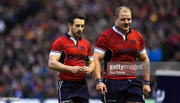 Scotland captain Greig Laidlaw and Euan Murray leave the field during the second half during the RBS Six Nations match between Scotland and Italy at...