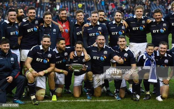 Scotland captain Greig Laidlaw and team mates celebrate after the RBS Six Nations match between Scotland and Ireland at Murrayfield Stadium on...