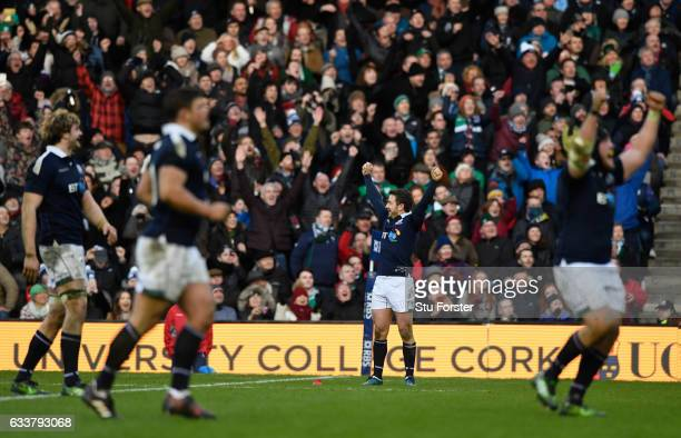 Scotland captain Greig Laidlaw celebrates on the final whistle during the RBS Six Nations match between Scotland and Ireland at Murrayfield Stadium...