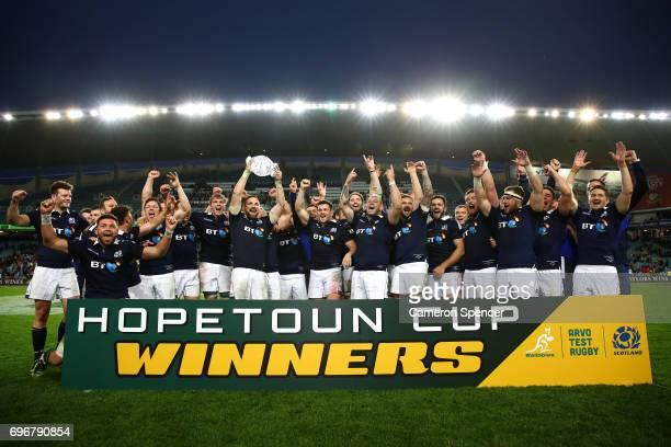 Scotland captain John Barclay celebrates with team mates after winning the Hopetoun Cup during the International Test match between the Australian...