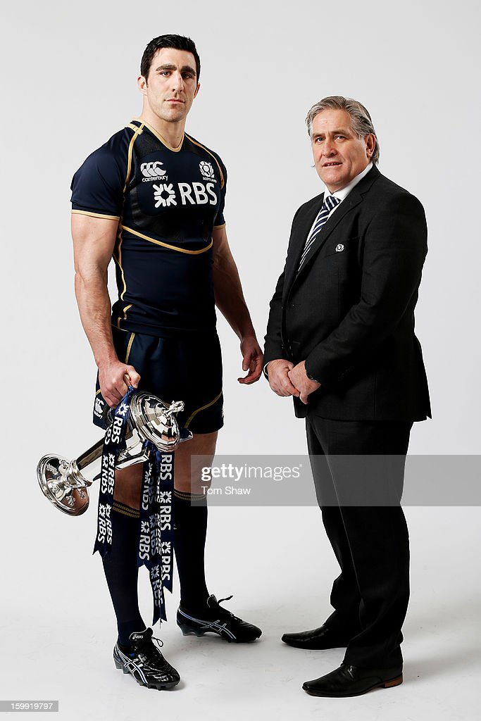 Scotland captain Kelly Brown and Scott Johnson the Scotland interim head coach pose with the Six Nations trophy during the RBS Six Nations launch at The Hurlingham Club on January 23, 2013 in London, England.