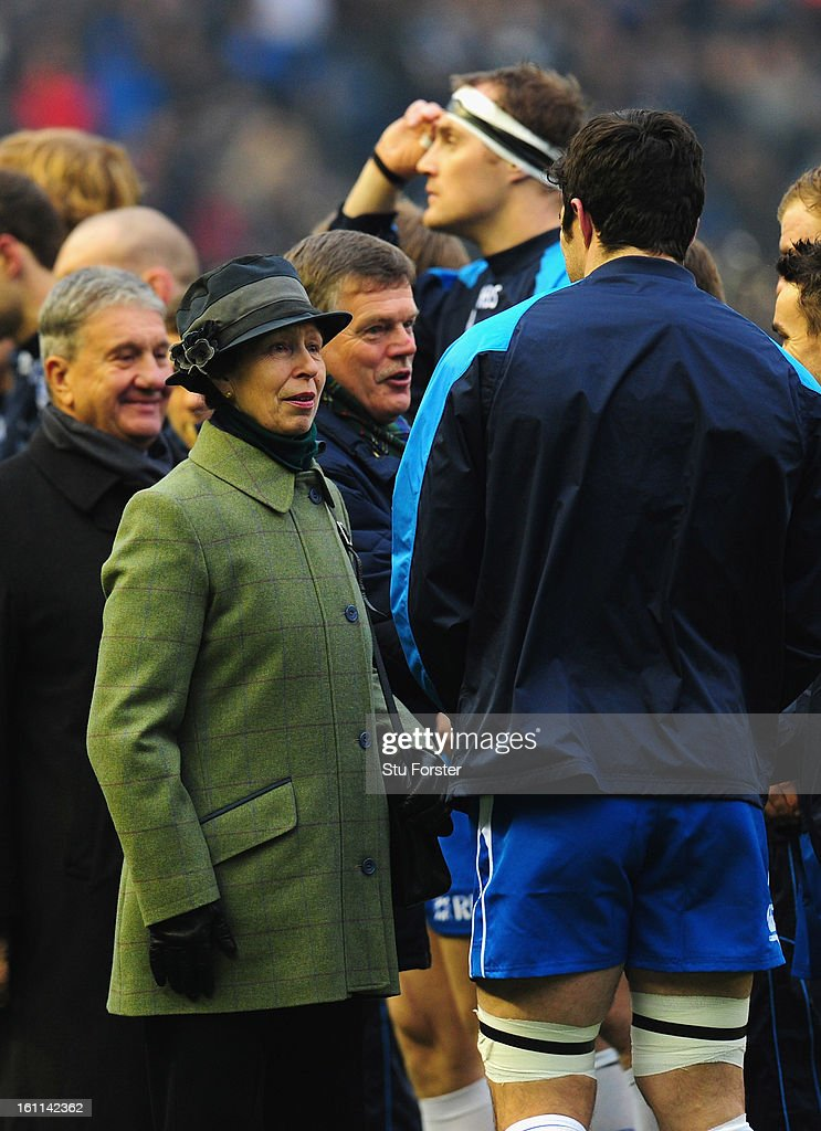 Scotland captain Kelly Brown (r) chats with HRH Pincess Anne before the RBS Six Nations match between Scotland and Italy at Murrayfield Stadium on February 09, 2013 in Scotland, United Kingdom