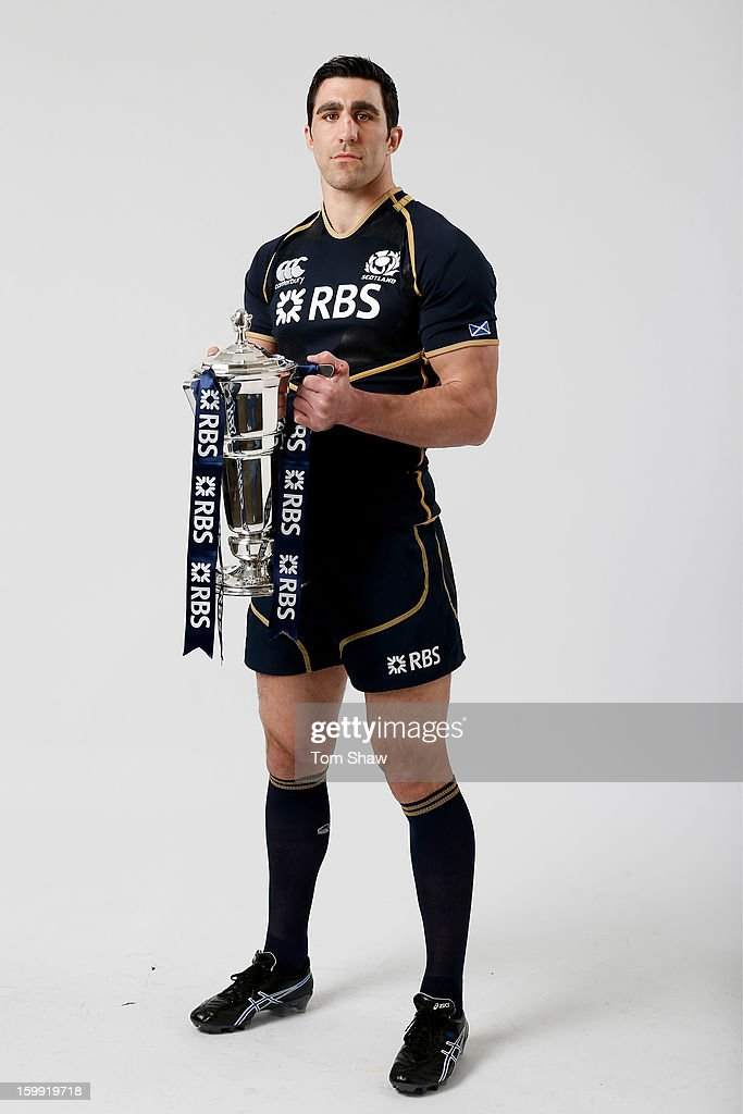 Scotland captain Kelly Brown poses with the Six Nations trophy during the RBS Six Nations launch at The Hurlingham Club on January 23, 2013 in London, England.