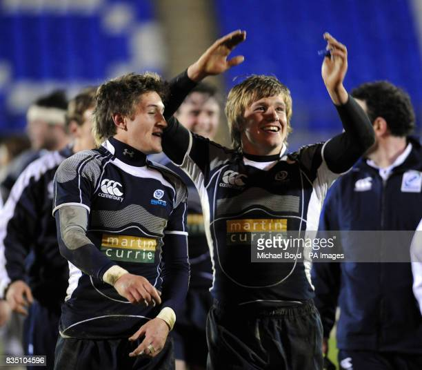 Scotland celebrate after beating Wales
