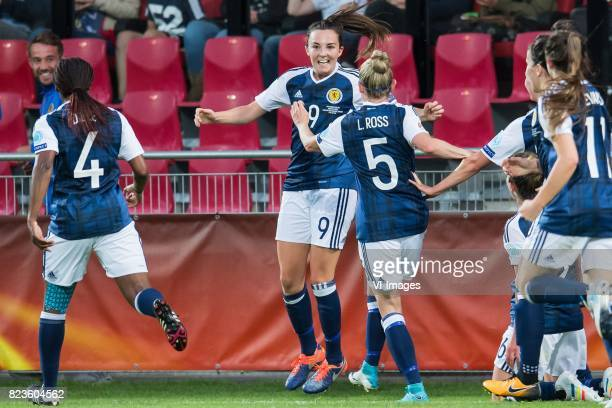 Scotland celebrate the goal of Caroline Weir of Scotland women during the UEFA WEURO 2017 Group D group stage match between Scotland and Spain at The...