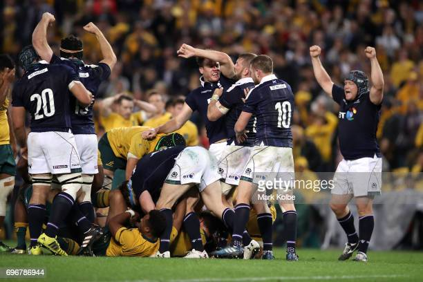 Scotland celebrate victory during the International Test match between the Australian Wallabies and Scotland at Allianz Stadium on June 17 2017 in...
