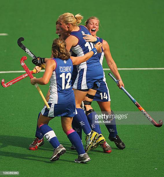 Scotland celebrates a goal during the Women's Pool A match between Australia and Scotland at Major Dhyan Chand National Stadium at Major Dhyan Chand...