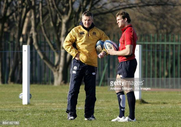 Scotland coach Frank Hadden with Rory Lamont during a training session at Murrayfield Back Pitches Edinburgh