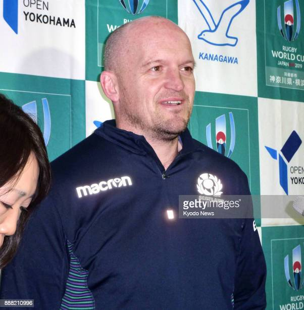Scotland coach Gregor Townsend speaks to reporters on Dec 8 after scouting Nissan Stadium in Yokohama where his team will play Japan at the 2019...