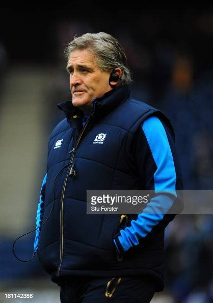 Scotland coach Scott Johnson looks on before the RBS Six Nations match between Scotland and Italy at Murrayfield Stadium on February 09 2013 in...