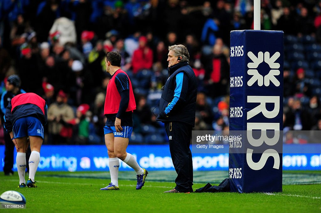 Scotland coach Scott Johnson looks on before the RBS Six Nations match between Scotland and Italy at Murrayfield Stadium on February 9, 2013 in Edinburgh, Scotland.