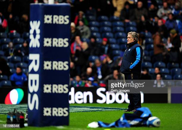 Scotland coach Scott Johnson looks on before the RBS Six Nations match between Scotland and Italy at Murrayfield Stadium on February 9 2013 in...