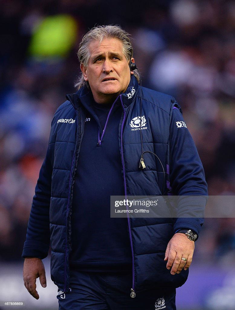 Scotland coach <a gi-track='captionPersonalityLinkClicked' href=/galleries/search?phrase=Scott+Johnson&family=editorial&specificpeople=586938 ng-click='$event.stopPropagation()'>Scott Johnson</a> looks on during the RBS Six Nations match between Scotland and England at Murrayfield Stadium on February 8, 2014 in Edinburgh, Scotland.
