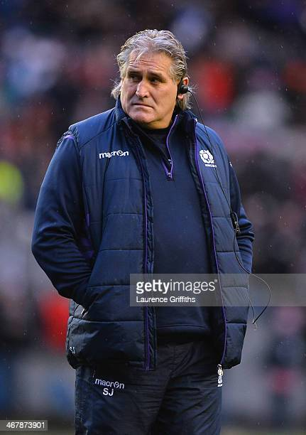 Scotland coach Scott Johnson looks on during the RBS Six Nations match between Scotland and England at Murrayfield Stadium on February 8 2014 in...