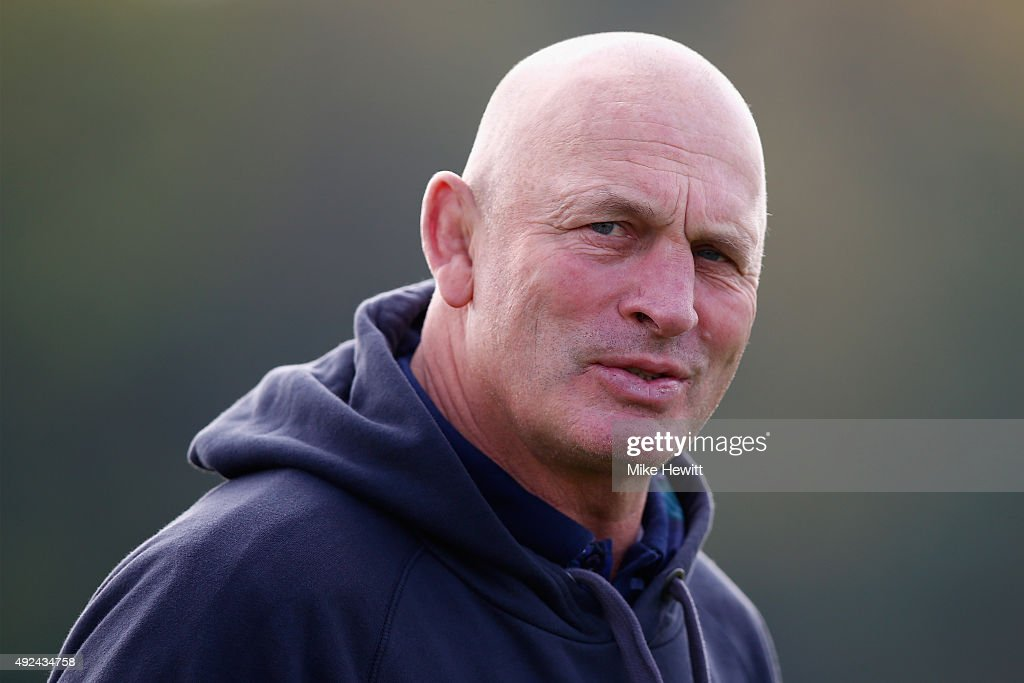 Scotland coach <a gi-track='captionPersonalityLinkClicked' href=/galleries/search?phrase=Vern+Cotter&family=editorial&specificpeople=611983 ng-click='$event.stopPropagation()'>Vern Cotter</a> looks on during a Scotland Training session ahead of their Rugby World Cup Quarter Final against Australia at Surrey Sports Park on October 13, 2015 in Guildford, England.