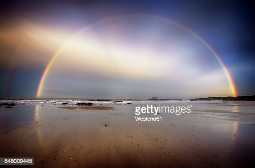 UK, Scotland, East Lothian, North Berwick beach, rainbow