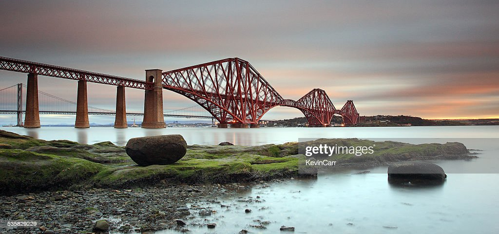UK, Scotland, Edinburgh, Queensferry, Low angle view of Forth Rail Bridge at dawn