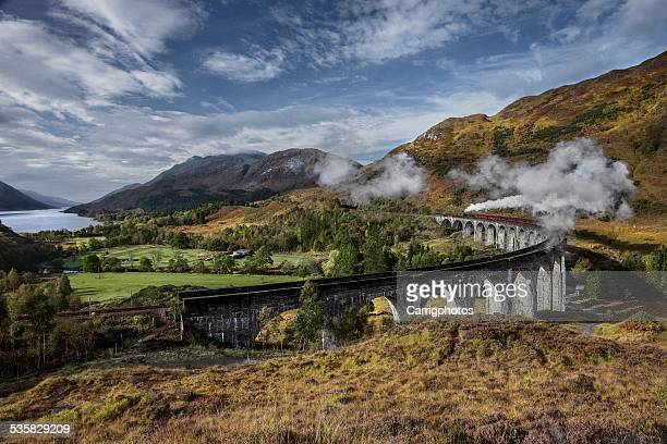 UK, Scotland, Elevated view of Jacobite Express crossing Glenfinnan Viaduct