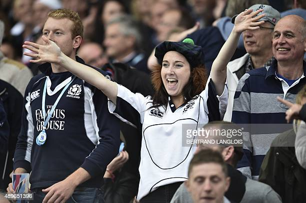A Scotland fan cheers in the crowd during the Pool B match of the 2015 Rugby World Cup between Scotland and Japan at Kingsholm stadium in Gloucester...