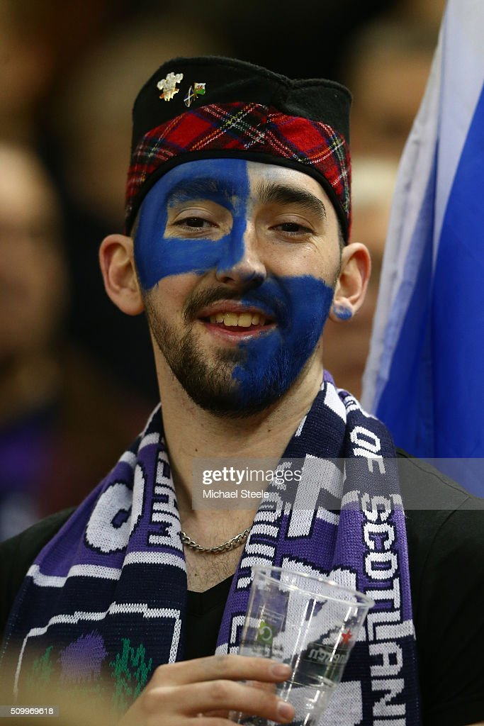 A Scotland fan enjoys the pre match atmosphere during the RBS Six Nations match between Wales and Scotland at the Principality Stadium on February 13, 2016 in Cardiff, Wales.