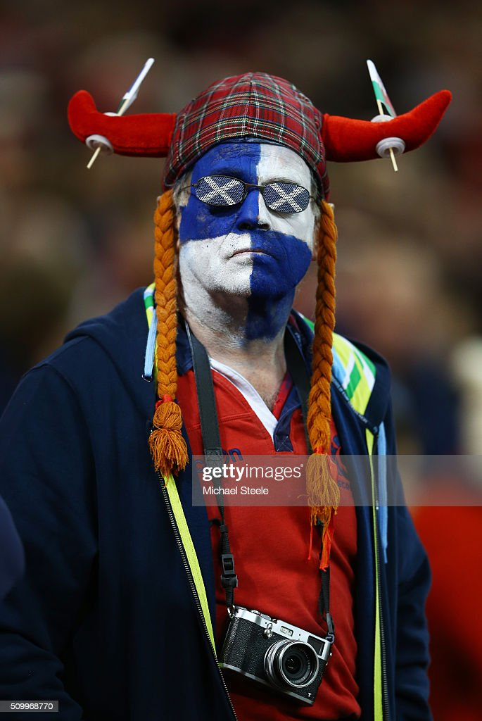 A Scotland fan looks on during the RBS Six Nations match between Wales and Scotland at the Principality Stadium on February 13, 2016 in Cardiff, Wales.
