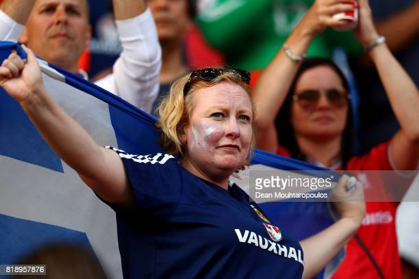 Scotland fans are seen in full voice and colour during the UEFA Women's Euro 2017 Group D match between England and Scotland at Stadion Galgenwaard...