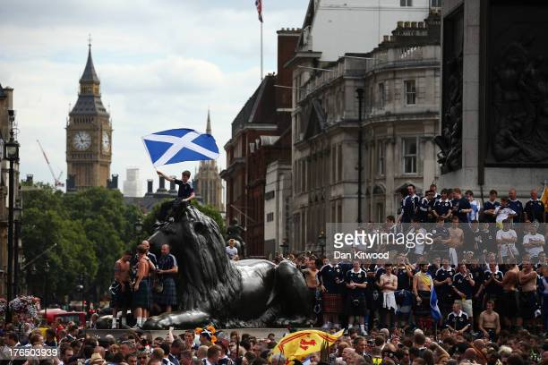 Scotland fans gather in Trafalgar Square ahead of their friendly match against England tonight on August 14 2013 in London England Scotland and...