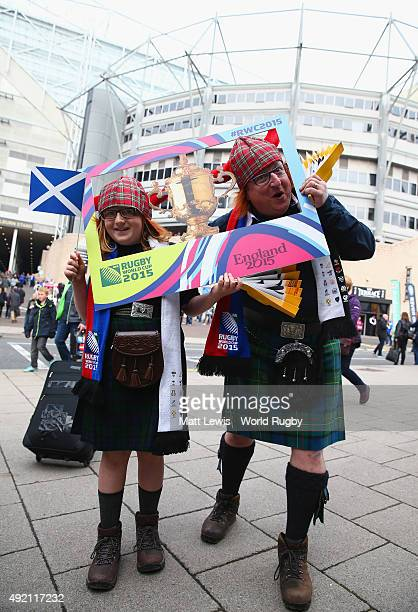 Scotland fans pose for a photograph prior to the 2015 Rugby World Cup Pool B match between Samoa and Scotland at St James' Park on October 10 2015 in...