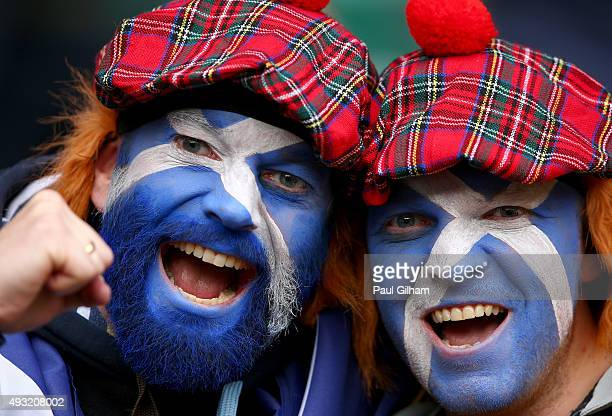 Scotland fans pose prior to the 2015 Rugby World Cup Quarter Final match between Australia and Scotland at Twickenham Stadium on October 18 2015 in...