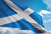 Scotland flag waving cloudy sky background realistic 3d illustration
