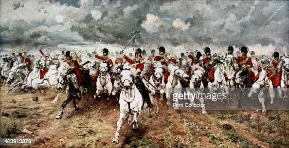 'Scotland for Ever' the charge of the Scots Greys at Waterloo 18 June 1815 The attack by the Royal Scots Greys cavalry regiment on the French 45th...
