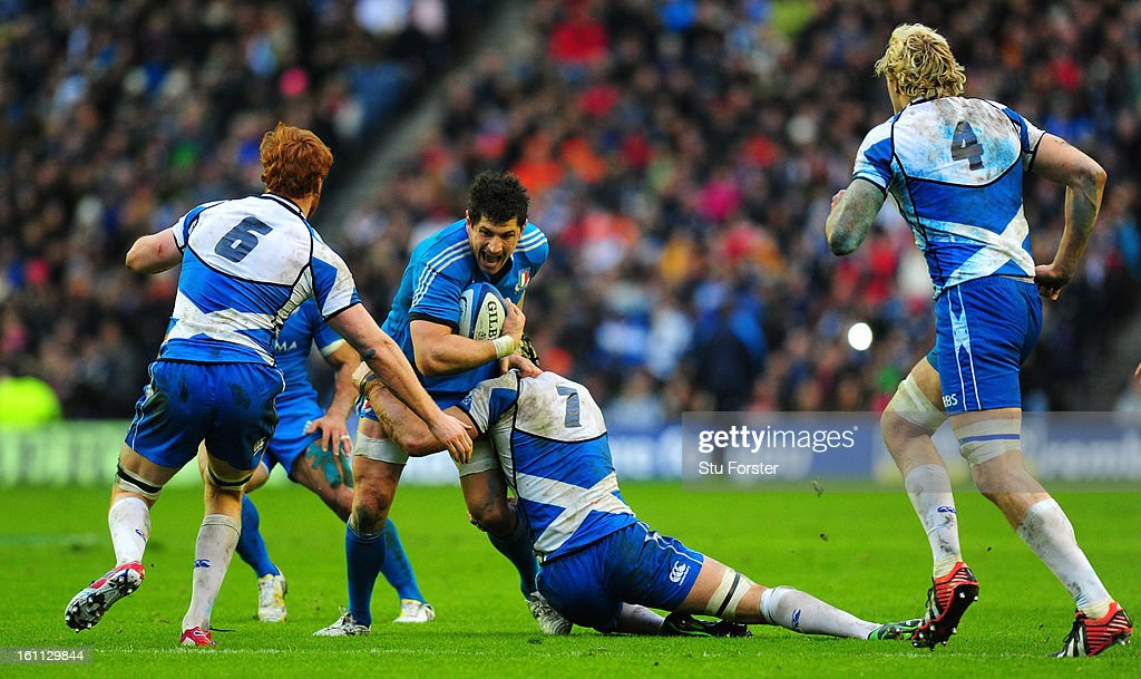 Scotland forward Kelly Brown puts in a tackle to stop Alessandro Zanni of Italy during the RBS Six Nations match between Scotland and Italy at Murrayfield Stadium in Scotland, United Kingdom