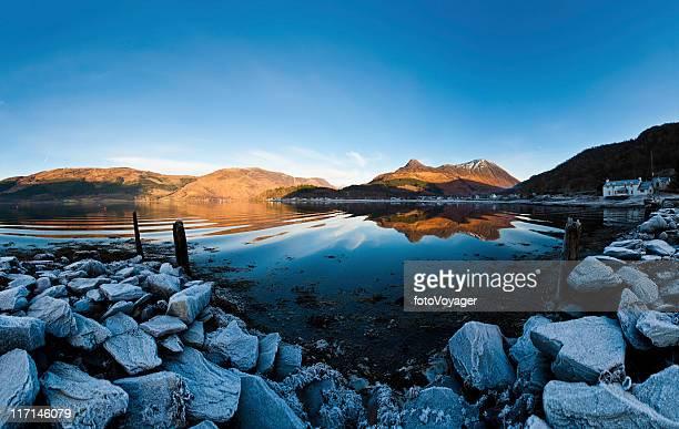Scotland Glencoe village Pap of Glen Coe reflecting Highland loch