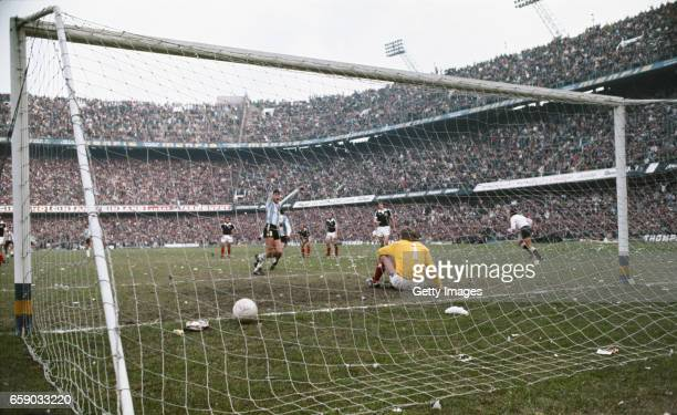 Scotland goalkeeper Alan Rough is beaten by a penalty by Argentina player Daniel Passarella during a friendly International between Argentina and...