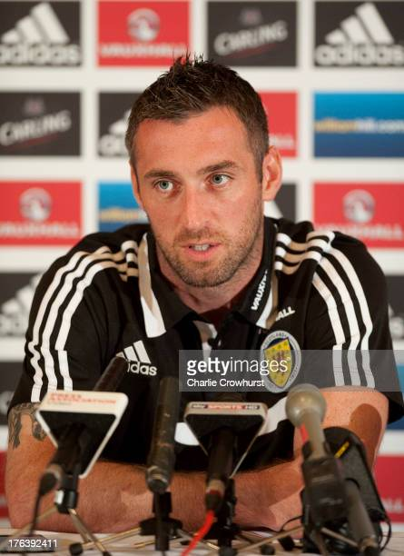 Scotland goalkeeper Allan McGregor talks to the media during the Scotland Press Conference at Sopwell House ahead of the friendly match against...
