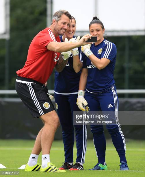 Scotland goalkeepers Shannon Lynn and Gemma Fay take selfie with their goalkeeping coach during a training session at VV Woudenberg Woudenberg