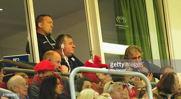 Scotland head coach Scott Johnson and his backroom staff look on during the RBS Six Nations match between Wales and Scotland at Millennium Stadium on...