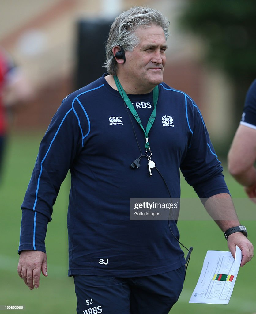 Scotland head coach <a gi-track='captionPersonalityLinkClicked' href=/galleries/search?phrase=Scott+Johnson&family=editorial&specificpeople=586938 ng-click='$event.stopPropagation()'>Scott Johnson</a> looks on during the Scotland training session at Crawford School on June 03, 2013 in Durban, South Africa.