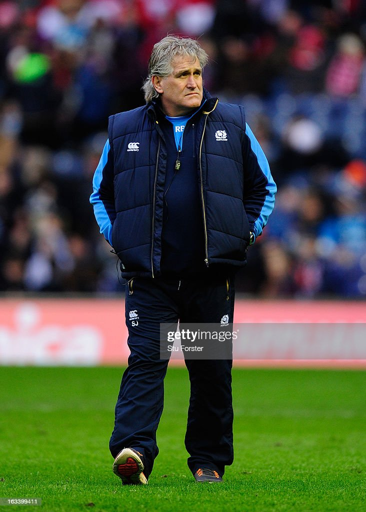 Scotland Head Coach <a gi-track='captionPersonalityLinkClicked' href=/galleries/search?phrase=Scott+Johnson&family=editorial&specificpeople=586938 ng-click='$event.stopPropagation()'>Scott Johnson</a> looks on prior to the RBS Six Nations match between Scotland and Wales at Murrayfield Stadium on March 9, 2013 in Edinburgh, Scotland.