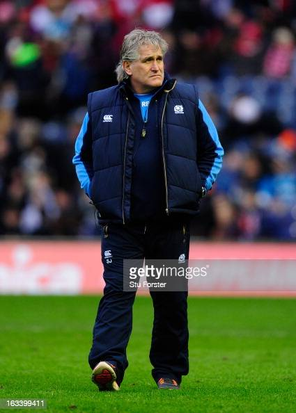 Scotland Head Coach Scott Johnson looks on prior to the RBS Six Nations match between Scotland and Wales at Murrayfield Stadium on March 9 2013 in...