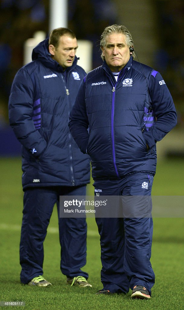 Scotland Head Coach <a gi-track='captionPersonalityLinkClicked' href=/galleries/search?phrase=Scott+Johnson&family=editorial&specificpeople=586938 ng-click='$event.stopPropagation()'>Scott Johnson</a> watches on during the Scotland v Australia Autumn International Series Match at Murrayfield Stadium on November 23, 2013 in Edinburgh, Scotland.