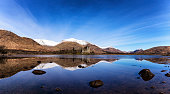 Scotland, Highlands, view to ruin of Kilchurn Castle with Loch Awe in the foreground