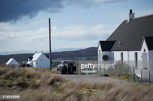 uk scotland houses on isle of skye stock photo getty images. Black Bedroom Furniture Sets. Home Design Ideas