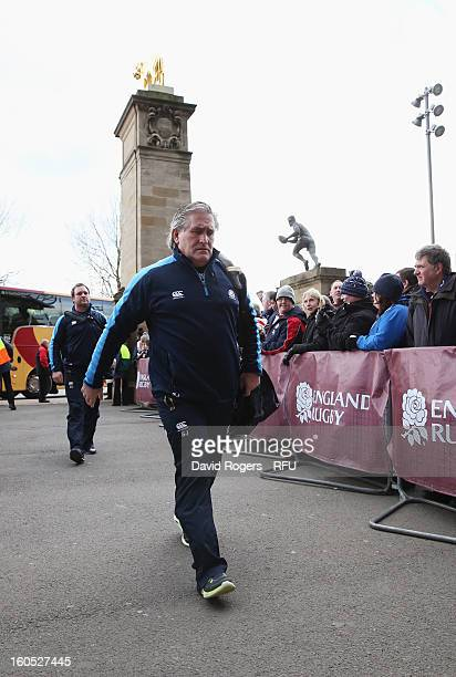 Scotland interim head coach Scott Johnson arrives for the RBS Six Nations match between England and Scotland at Twickenham Stadium on February 2 2013...