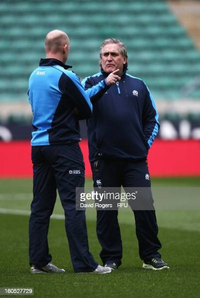 Scotland interim head coach Scott Johnson inspects the pitch prior to the RBS Six Nations match between England and Scotland at Twickenham Stadium on...